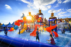 Robinson water park. Chiang Mai Thailand - September 17, 2016 : Robinson water park, Unidentified kids are fun to play on outdoor water park at Central Plaza Stock Photo