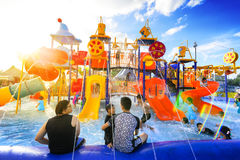 Robinson water park. Chiang Mai Thailand - September 17, 2016 : Robinson water park, Unidentified kids are fun to play on outdoor water park at Central Plaza Royalty Free Stock Photos