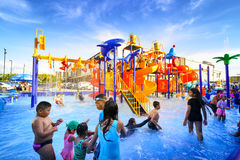 Robinson water park. Chiang Mai Thailand - September 17, 2016 : Robinson water park, Unidentified kids are fun to play on outdoor water park at Central Plaza Royalty Free Stock Photography