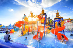 Robinson water park. Chiang Mai Thailand - September 17, 2016 : Robinson water park, Unidentified kids are fun to play on outdoor water park at Central Plaza Royalty Free Stock Images