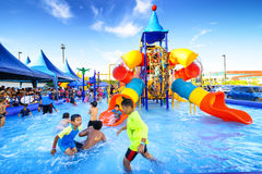Robinson water park. Chiang Mai Thailand - September 17, 2016 : Robinson water park, Unidentified kids are fun to play on outdoor water park at Central Plaza Royalty Free Stock Image