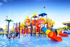 Robinson water park. Chiang Mai Thailand - September 17, 2016 : Robinson water park, Unidentified kids are fun to play on outdoor water park at Central Plaza Stock Images