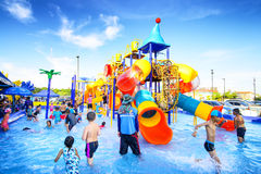 Robinson water park. Chiang Mai Thailand - September 17, 2016 : Robinson water park, Unidentified kids are fun to play on outdoor water park at Central Plaza Royalty Free Stock Photo