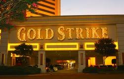 金子罢工旅馆、赌博娱乐场和赌博被膜标志, Robinsonville密西西比 图库摄影