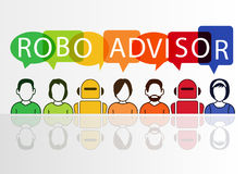 Robo-advisor concept as  illustration with colorful icons of robots and persons Royalty Free Stock Photography