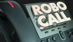 Robo Call Telephone Marketing Spam Junk Phone Calling. 3d Illustration royalty free illustration