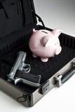 Robo de un banco guarro Foto de archivo libre de regalías