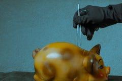 Robo de un banco La mano con guantes del negro del concepto saca el dinero fuera de la hucha fotografía de archivo libre de regalías