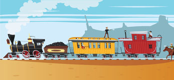 Robo del oeste salvaje del tren del vapor Fotografía de archivo