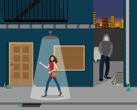 Robo en el callejón stock de ilustración