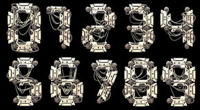 Robo Font. This font is made in the style of robot manipulators Royalty Free Stock Photo