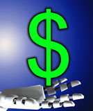 Robo Hand And Dollar Royalty Free Stock Photography