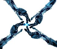ROBO AND HUMAN HAND artificial intelligence. In the field of computer science, artificial intelligence, sometimes called machine intelligence, is intelligence vector illustration