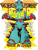 Robo Zombie. Vector illustration ideal for printing on apparel clothes Royalty Free Stock Photos