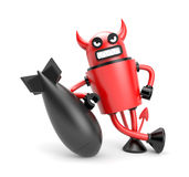 Robodevil with bomb Royalty Free Stock Images