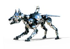 RoboDog Defender 2. A fierce robot guard dog is ready to defend you against cybercrime - 3D render stock illustration