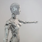 Robogirl. Highly detailed robot girl points finger Stock Photo