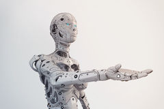Robogirl. Robot girl with outstretched hand Royalty Free Stock Photography