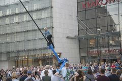 RoboPole, 32nd Street Festival of Theatre, Krakow, Poland, July 2019 stock photo