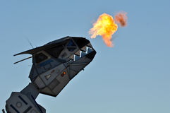 Robosaurus breathing Fire Stock Image