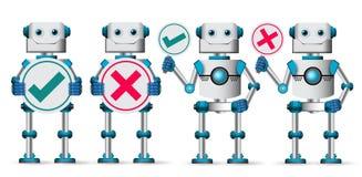 Robotów charakterów wektoru set Biali mechaniczni cyborga mienia plakaty ilustracji