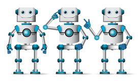 Robotów charakterów wektoru set Mechaniczna maskotka w białej pozyci ilustracji