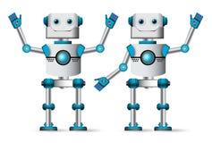 Robotów charaktery ustawiający Biała cyborg maskotki pozycja z rezygnować ręka gesty ilustracji
