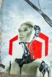 Robotów graffiti w zaniechanym fabrycznym budynku Zdjęcie Royalty Free