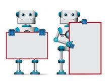 Robotów wektorowi charaktery trzyma pustego whiteboard dla teksta royalty ilustracja