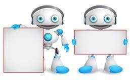 Robotów wektorowi charaktery ustawiający Życzliwi i śmieszni androidów roboty royalty ilustracja