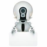 Robot élégant avec le panneau vide illustration stock