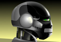Robot. Head profile on a grey-yellow background Stock Photography