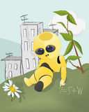 The robot. Robot chamomile city cloud computer Royalty Free Stock Photo