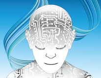Robot. Head and shoulders of humanoid robot with circuits Stock Photos