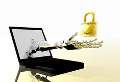 Robot. Arm holding lock coming through labtop screen Royalty Free Stock Images