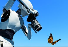 The robot. The figure of the robot with a camera on a skyline Royalty Free Stock Photos