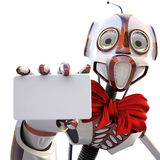 Robot. With a red bow around his neck handing a blank business card over white background Royalty Free Stock Image