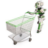 Robot. Runs pushing a shopping cart. isolated on white including clipping path Stock Photography