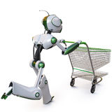 Robot. Runs pushing a shopping cart. isolated on white including clipping path Royalty Free Stock Photo