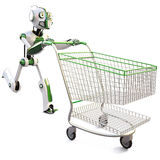 Robot. Runs pushing a shopping cart. isolated on white including clipping path Royalty Free Stock Images