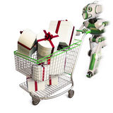 Robot. Runs pushing a shopping cart with gifts. isolated on white including clipping path Stock Image