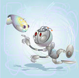 Robot. Boy and fish study each other under water Stock Photos