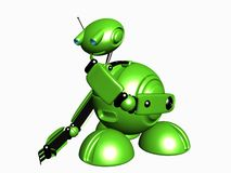 Robot. The beautiful green modern robot in 3D Royalty Free Stock Photo