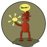 Robot. Holding the shining lemon Vector Illustration