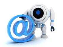Robot and @. Robot and sign @ (done in 3d Stock Image