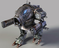 Robot  3d. Fantastic futuristic 3d robot isolated on grey Royalty Free Stock Images