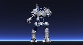 Robot. Cgi render of robot playing with gears Royalty Free Stock Photo