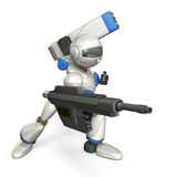 Robot aan aanval Stock Foto