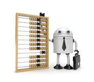 Robot with abacus. Business metaphor. Isolated on white Stock Photography