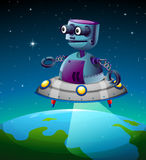 A robot above the earth Royalty Free Stock Photography